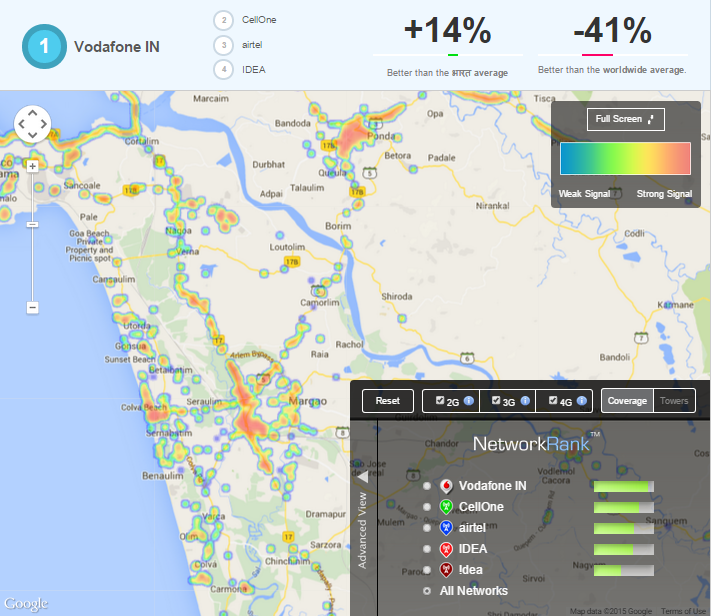 A Visualization Of Network Signal Strength In Goa Startup Goa - Cellular signal strength map